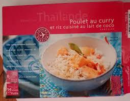 plat cuisiné picard recette de thaïlande poulet au curry et riz cuisiné au lait de coco
