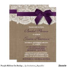 navy lace ribbon purple ribbon on burlap lace bridal shower card bridal shower