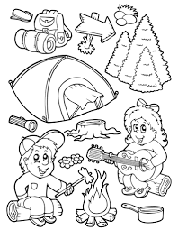 camping equipment coloring pages for kids bko printable camping