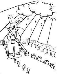 Rabbit Gardening In Rainy Day Coloring Pages Bulk Color Rainy Day Coloring Pages