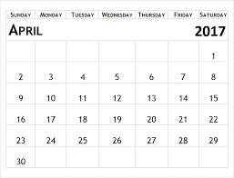 april 2017 printable calendar template calendars pdf