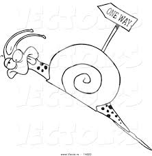 vector of a cartoon tired snail going uphill near a one way sign