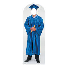 blue cap and gown men s blue cap gown graduate cardboard stand in stand up cap and
