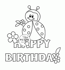 happy birthday card with ladybug coloring page for kids holiday