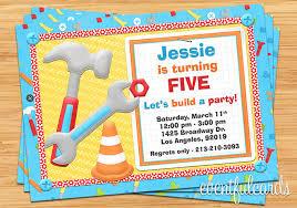 tools construction birthday party invitation digital