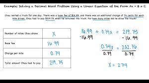 example solving a decimal word problem using a linear equation of the form ax b c