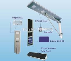 all in one solar street light 20w led solar power street light 40w solar panel 18ah battery all