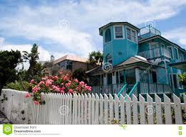 turquoise house in venice beach los angeles california stock
