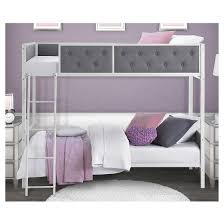 Chesterfield Upholstered Bunk Bed Full WhiteGray Dorel - Upholstered bunk bed