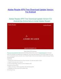 adobe reader android apk adobe reader apk free update version for android by