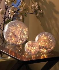 set of 3 lighted glass balls home kitchen