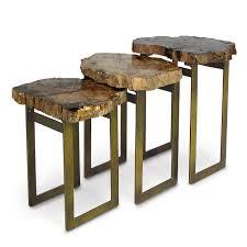 petrified wood end table palecek