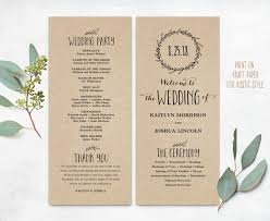 wedding program printable wedding programs diy wedding programs simple wedding