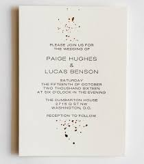 wedding invitations gold foil collection gold foil and letterpress ink splatter wedding