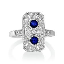 purebrilliantdiamonds sapphire diamond art deco style ring