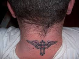 with wings n on neck
