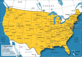 united states map with important cities map united states showing major cities maps of usa with canada and
