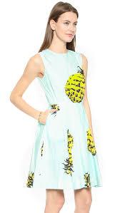 msgm pineapple shift dress light blue multi in blue lyst