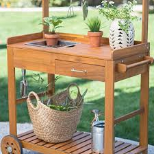 Garden Potting Bench Acacia Wood Garden Potting Bench Sink With Storage Drawer Elevated