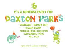 five lizard birthday amy suther boys birthday invitation bug