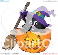 clipart of a cute black halloween witch cat in a jackolantern
