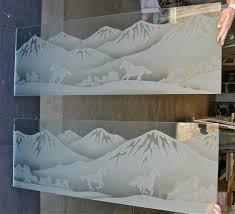 frosted glass partitions and window mountains and desert