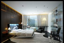 Modern Double Bed Designs Images Big Glass Window Closed White Curtain In Contemporary Bedroom