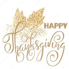 happy thanksgiving day gold lettering on white background