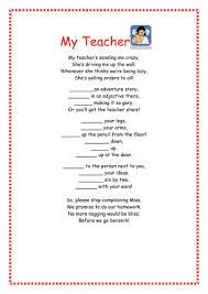 my teacher an instruction poem comprehension by smiler1985