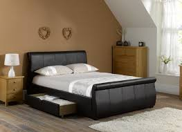 Ottoman Faux Leather Bed Led Lights Modern Designerck Faux Leather Single Frame With