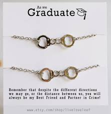 graduation gifts for friends set of 2 silver handcuffs bracelets partners in crime best friends