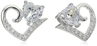 heart shaped diamond earrings sterling silver cubic zirconia open heart shaped stud