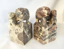 foo dog bookends vintage foo dogs bookends carved statues foo dog