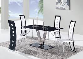 Modern Black Dining Room Sets by Dining Room Modern 5 Piece Dining Set With Black Leather Chairs