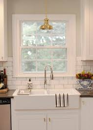 sinks country white kitchen white subway tile backsplash white
