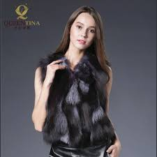 real fur coat fashion women pieces natural silver fox fur vest