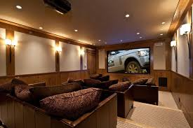 basement media room home theater traditional with recessed