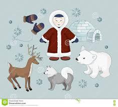 vector set of eskimo characters stock vector image 80473287