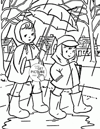 rainy spring day coloring page for kids seasons coloring pages