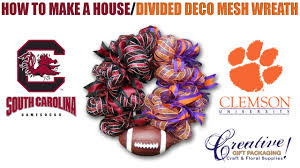 a house divided deco mesh wreath usc u0026 clemson youtube
