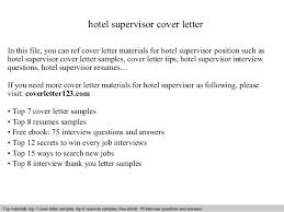 application letter for supervisor position sample hotel supervisor cover letter