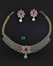diamond ruby necklace sets images Diamond necklace sets jpg