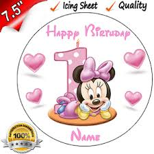 minnie mouse 1st birthday 1st birthday minnie mouse edible icing cake topper ebay