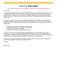 receptionist cover letter receptionist cover letter exles for admin livecareer