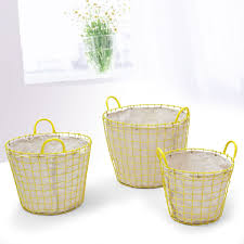 joveco oval urban style laundry baskets with yellow wired detail