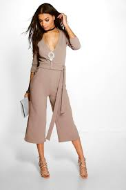 70s jumpsuit womens roll sleeve relaxed culotte jumpsuit boohoo