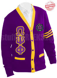 purple cardigan sweater omega psi phi letter cardigan with crest and gold stripes