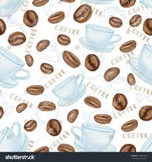 watercolor coffee beans white cup seamless stock vector 279407786