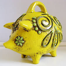 fitz floyd u0027 paper mache piggy bank u2013 bright detailed vintage 60 u0027s