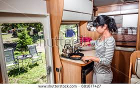 motor home interiors cooking cer motorhome interior family stock photo royalty